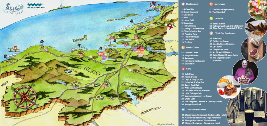 Sligo Food Trail Map - beautifully illustrated by Annie West