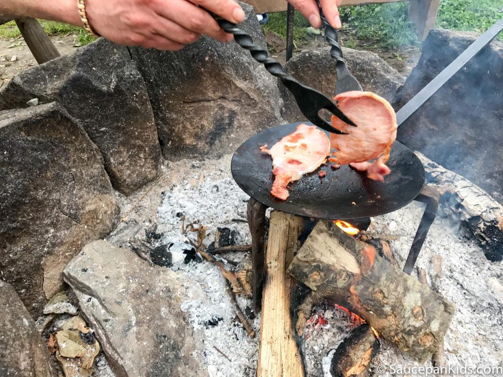 Irish National Heritage Park Ringfort Stayover review - by Saucepan Kids - making breakfast