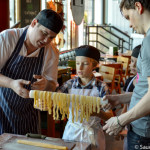 Ronan and Kyle helping hang out the tagliatelle