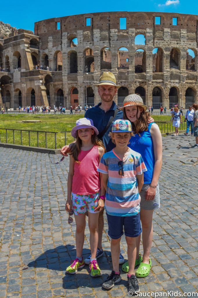James and the kids outside the Colosseum