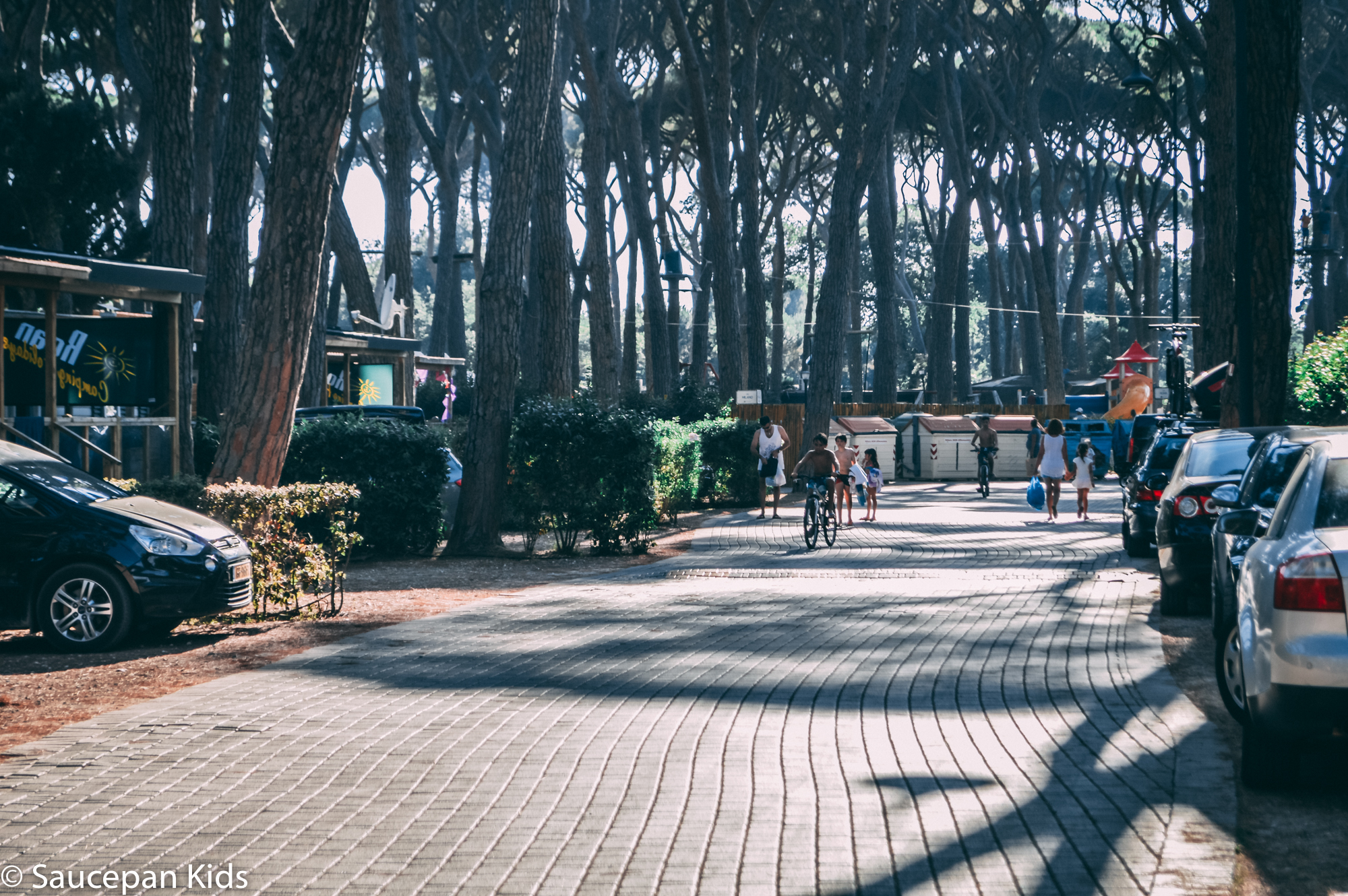Saucepan Kids visit Parc Albatros in Tuscany with Canvas Holidays 2017 - The cobbled streets around the campsite