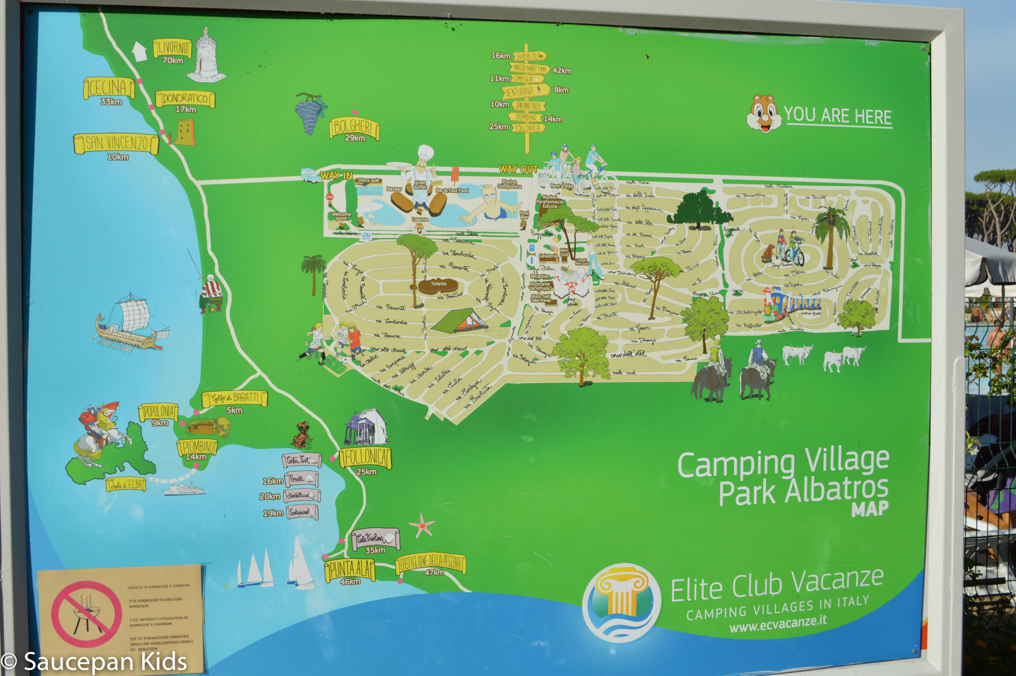 Saucepan Kids visit Parc Albatros in Tuscany with Canvas Holidays 2017 - The campsite layout