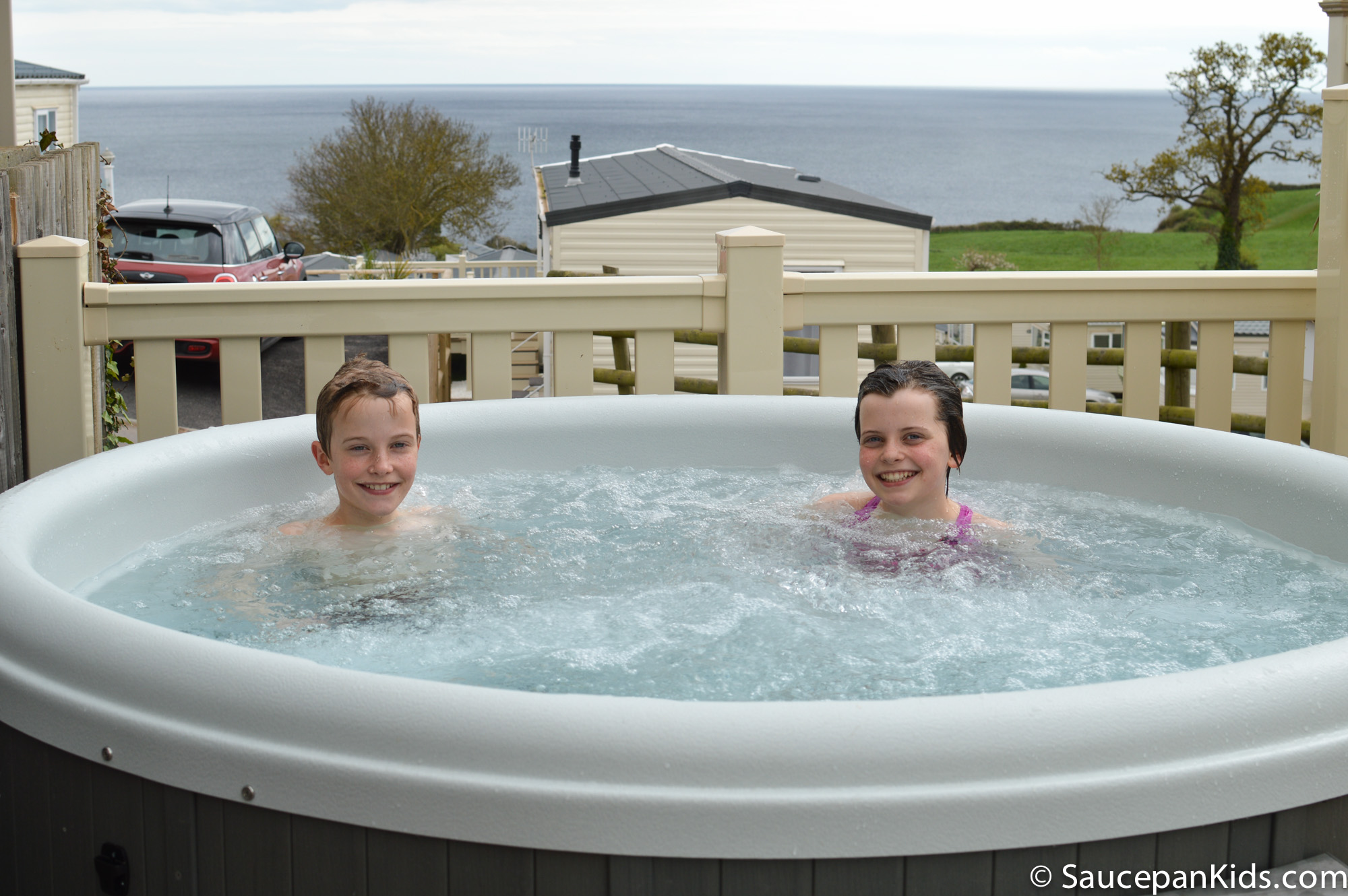 Hot Tub at Ladram Bay Holiday Park review by Saucepan Kids