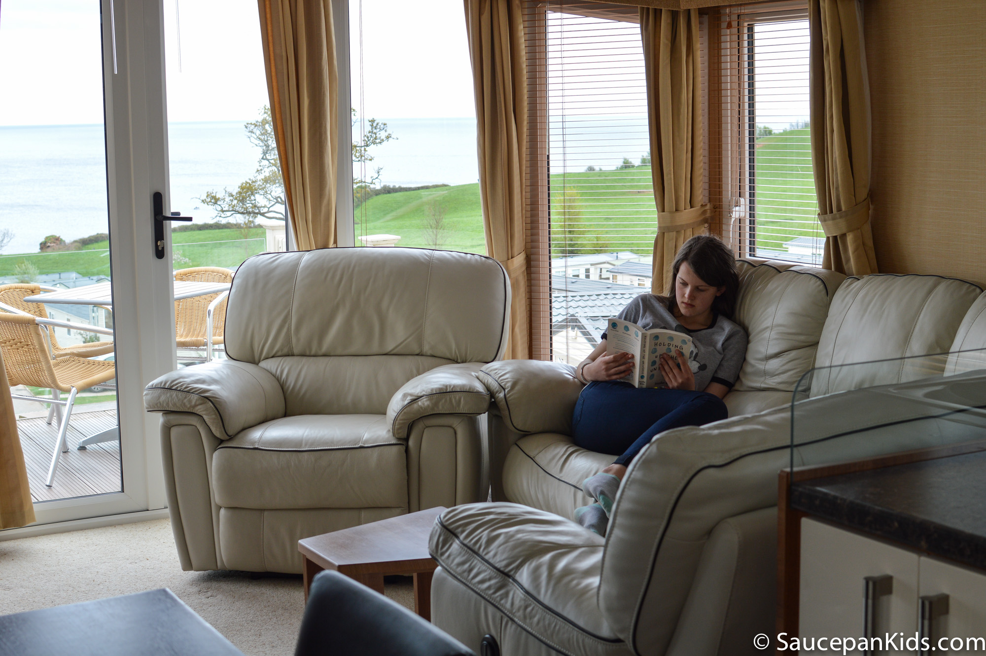 Lounge at Peak View holiday homes - Ladram Bay Holiday Park review by Saucepan Kods