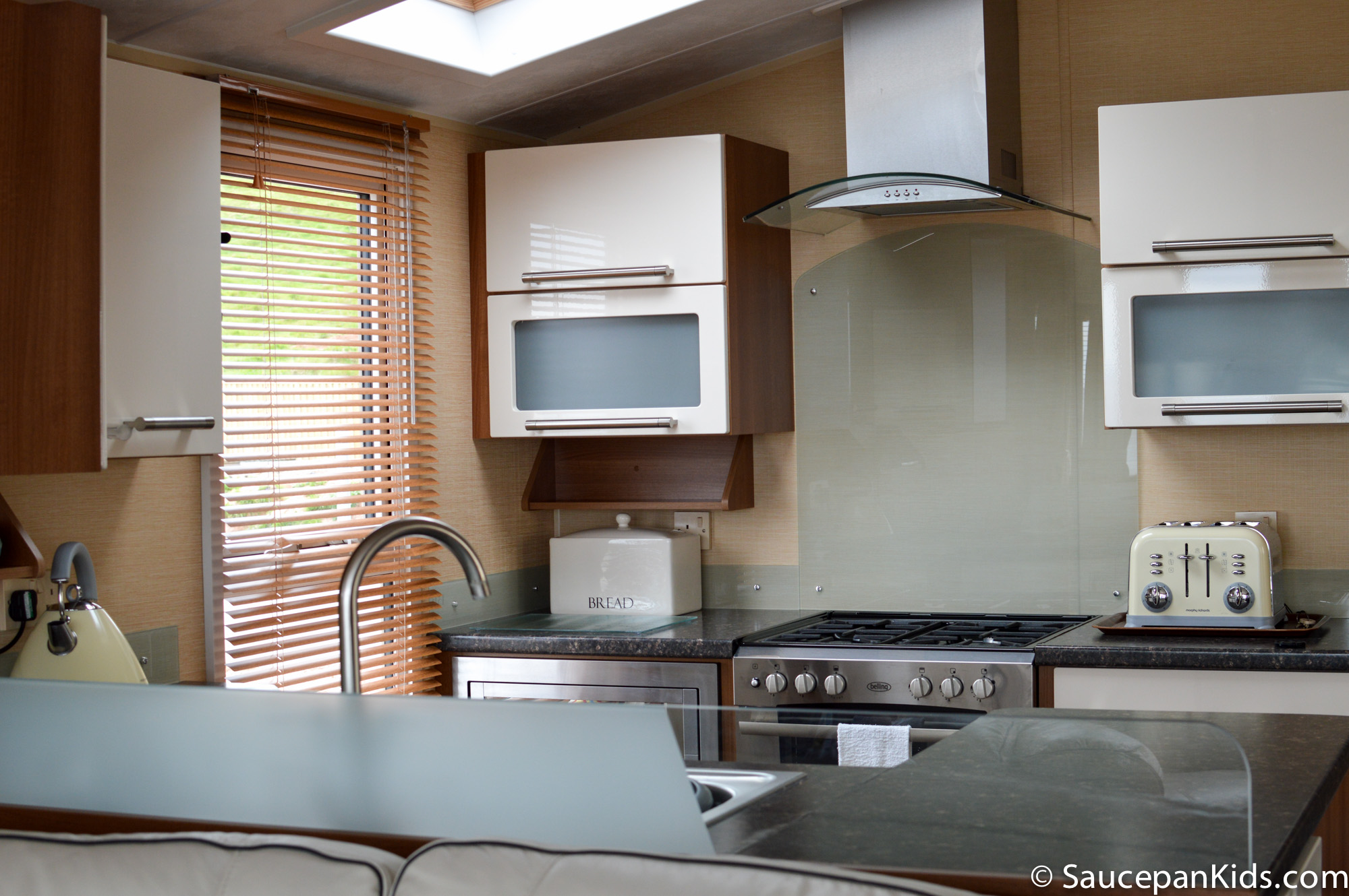 Kitchen at Peak View holiday homes - Ladram Bay Holiday Park review by Saucepan Kods