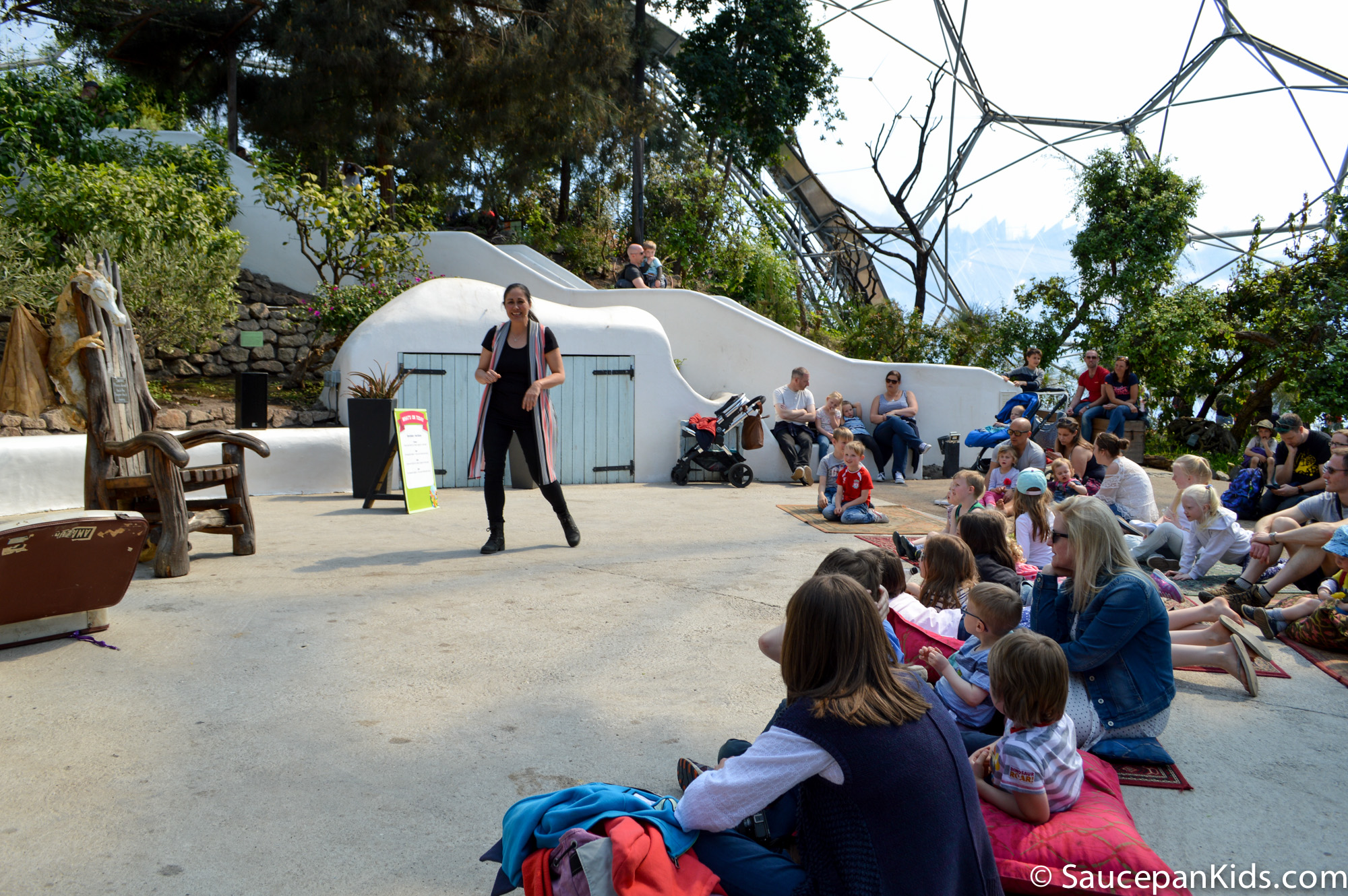 Saucepan Kids visit and review Eden Project Cornwall - The Mediterranean Biome Storytelling