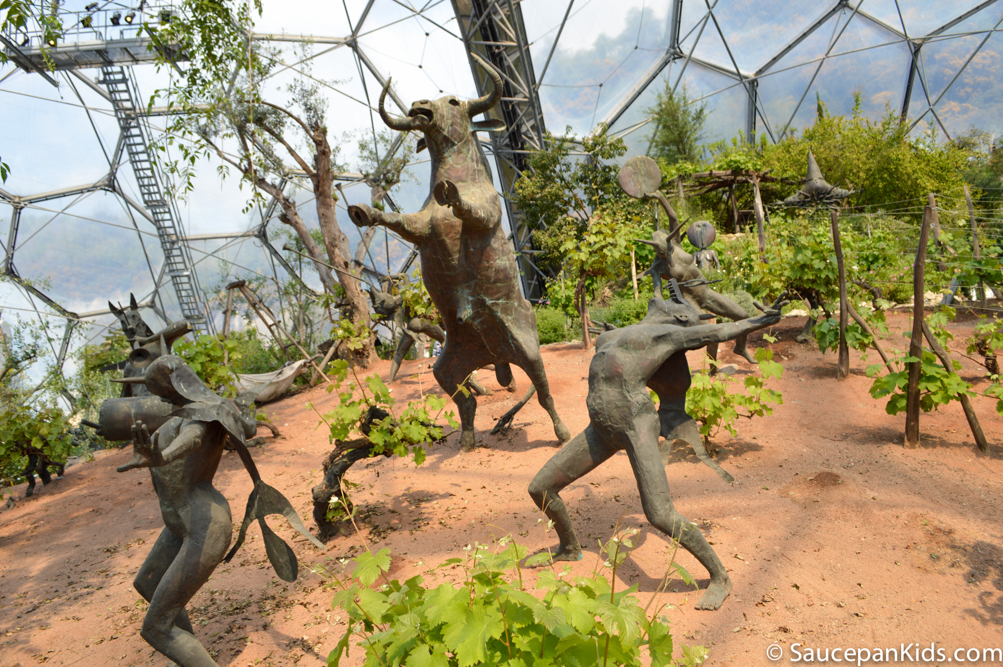 Saucepan Kids visit and review Eden Project Cornwall - The Mediterranean Biome Statues