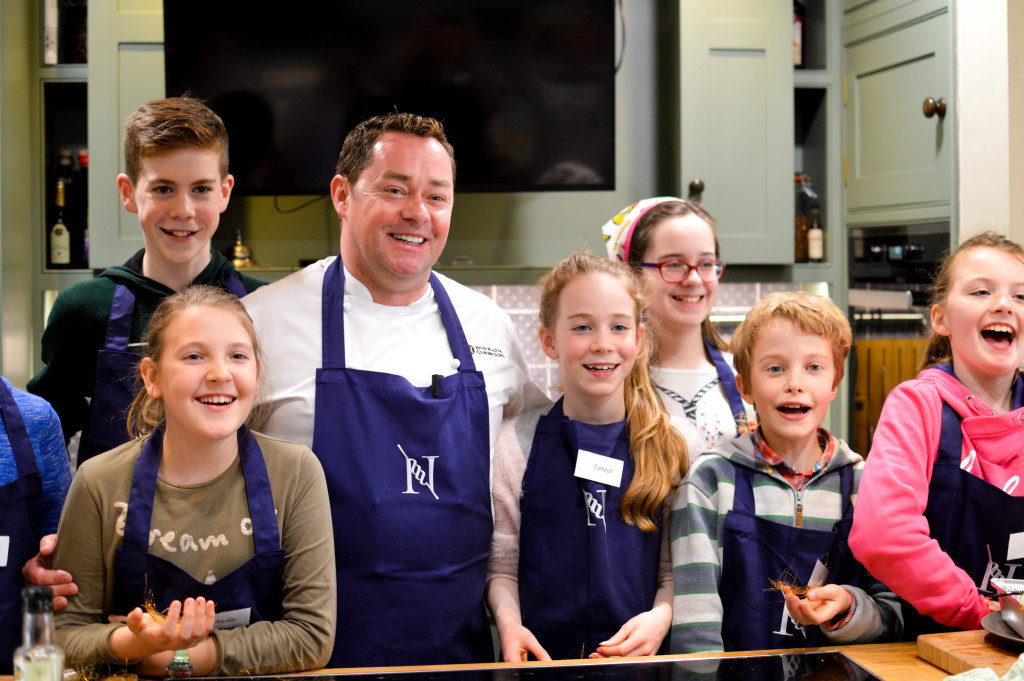 The kids having a great time on the 'Parent and Child' course at Neven Maguire's Cookery School