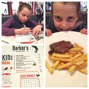 Kids menu at Barker's of Blackrock
