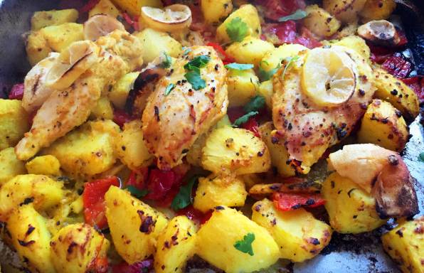 lemon chicken Indian spiced potatoes