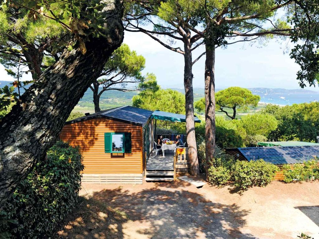 The view from a pitch at Les Tournels, Ramatuelle, South of France family camping with Saucepan Kids - Image courtesy of Yelloh Village website