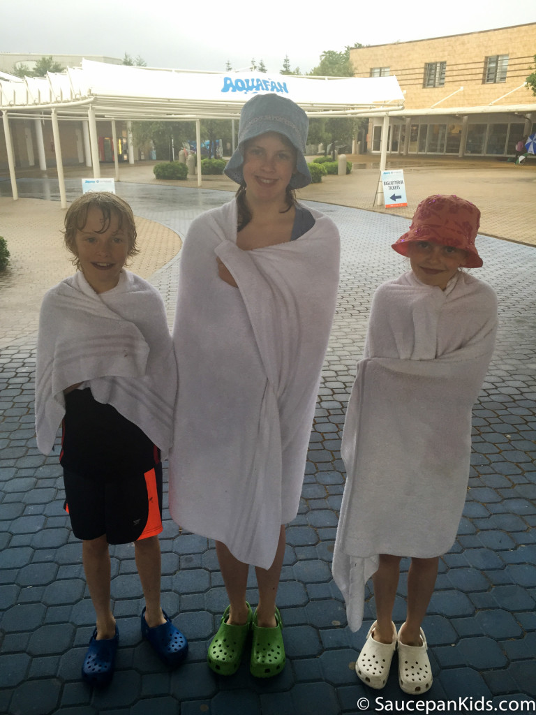 Sheltering from the rain at Aquafan - Things for kids to do in Emilia Romagna