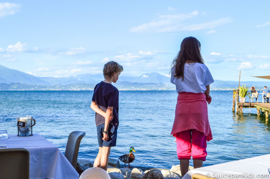 Eating out as a family by the lake in Sirmione - Things to do in Lake Garda with kids
