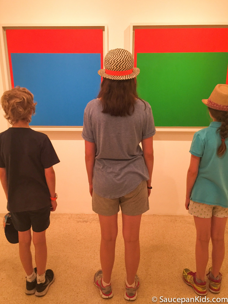 Saucepan Kids enjoying the modern art paintings in the Peggy Guggenheim Museum in Venice, Italy