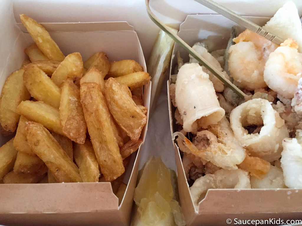Saucepan Kids enjoy Fritto Misto at Fishing Lab in Florence, Italy