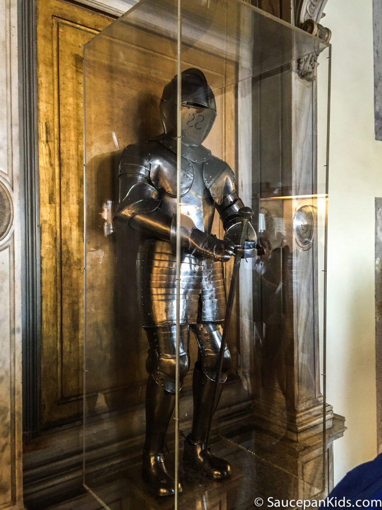 There are many examples of suits of armour in the armoury in the Doge's Palace