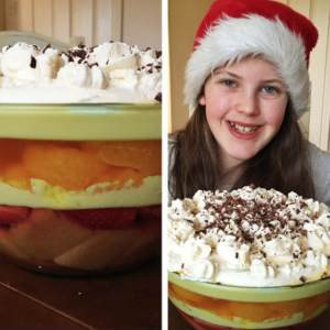 Easy trifle recipe by Saucepan Kids - getting kids to help at Christmas