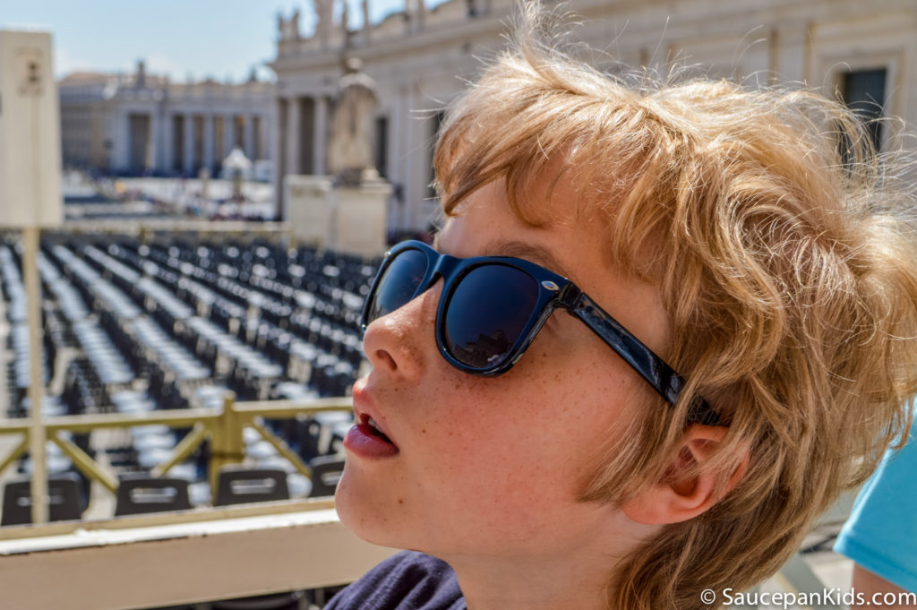 Fraser taking in the architecture outside the front of St Peter's Basilica