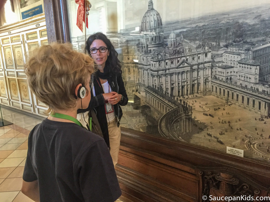 Cecilia, our guide, answering Fraser's question about the picture of the Vatican