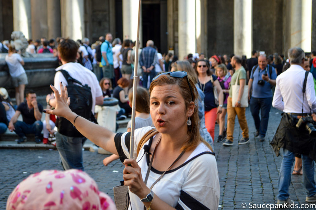 Marianna, our Walks of Italy tour guide, explaining the history of the Pantheon
