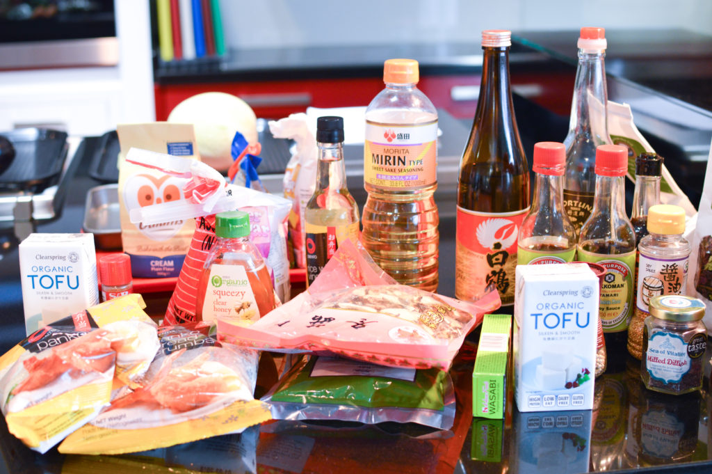 Japanese ingredients used during the cooking class most of which are available at your local Supervalu store