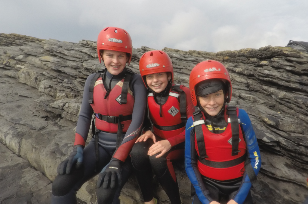 Saucepan Kids enjoying coasteering adventure at Shielbaggan Outdoor Education Centre