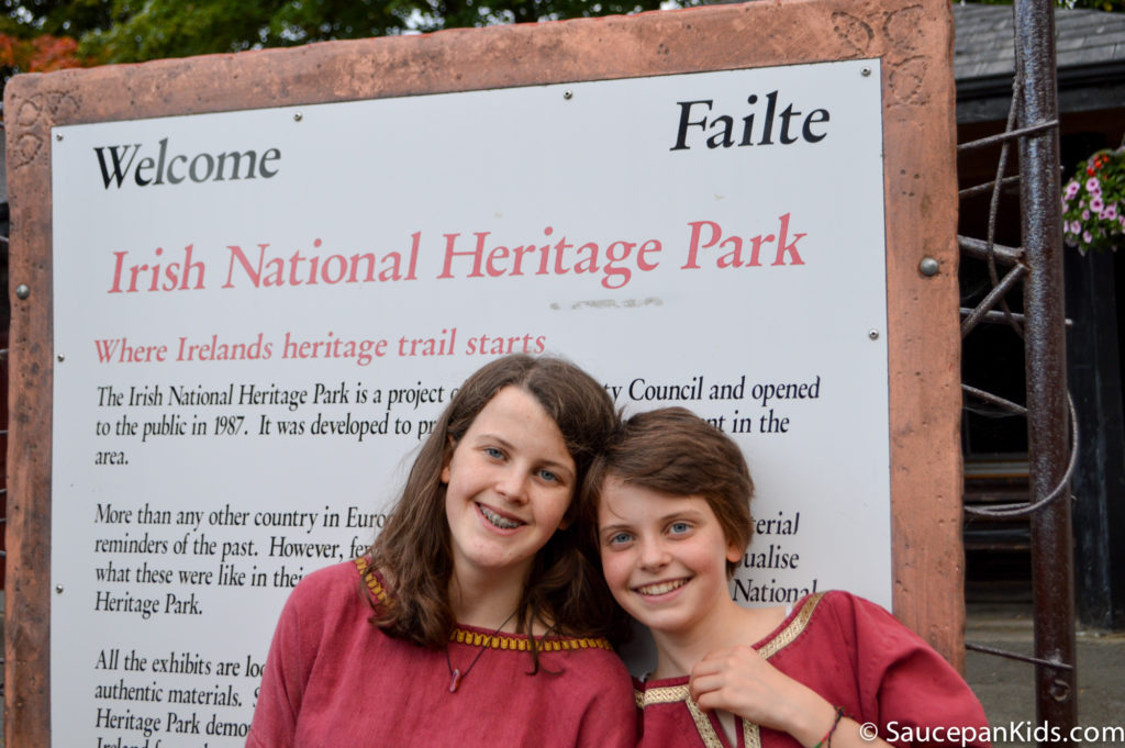 Irish National Heritage Park Ringfort Stayover review - by Saucepan Kids - the girls getting into character