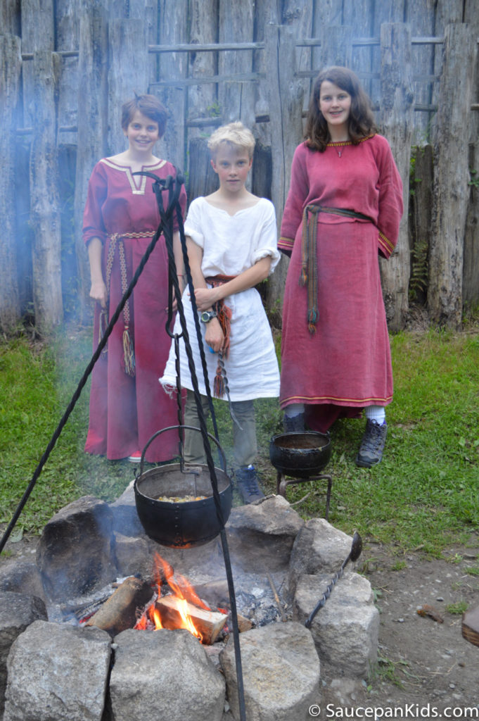 Irish National Heritage Park Ringfort Stayover review - by Saucepan Kids - the kids getting into character