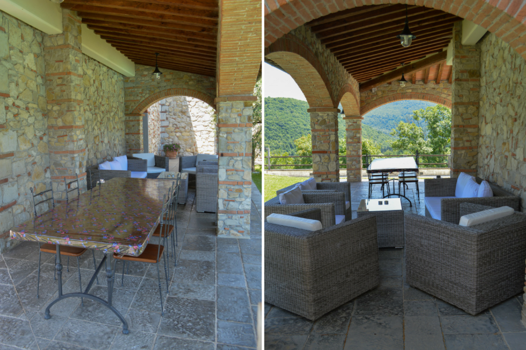 Saucepan Kids review Villa le Croci for Windows on Italy - Family Friendly places to stay in Tuscany - The terrace