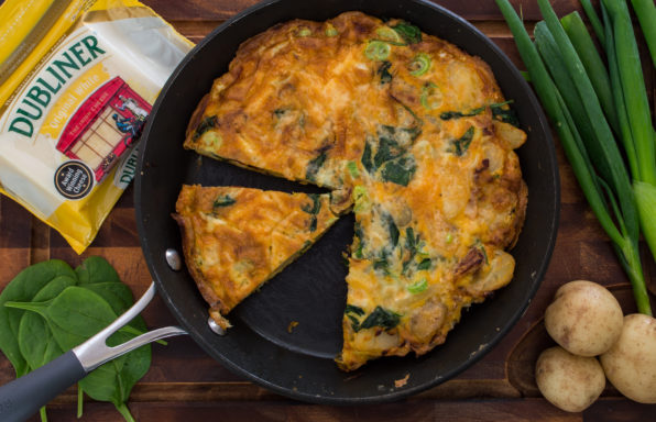 Saucepan Kids make a delicious cheesy spanish-style tortilla with Dubliner Cheese - perfect for leftovers and packed lunches