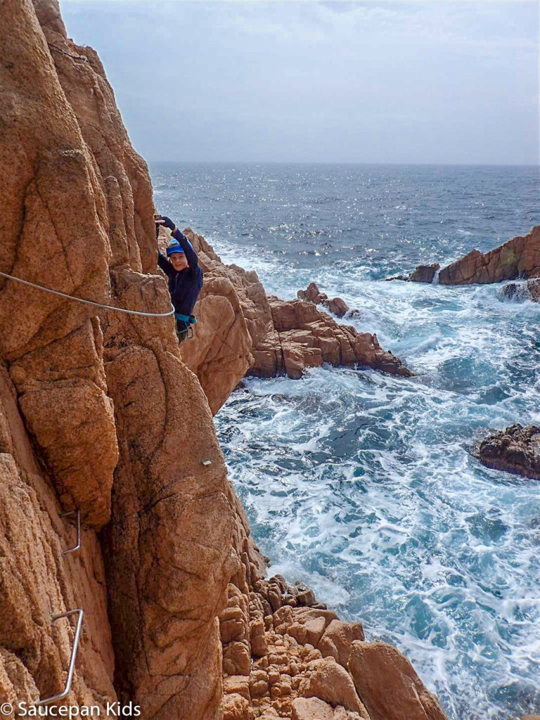Family Friendly things to do in Costa Brava with Saucepan Kids - Catalonia - Spain - A family guided tour of Via Ferrata Cala Del Moli Sant Feliu - close to the sea