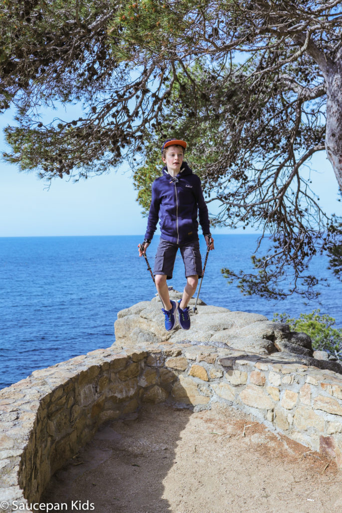 Family Friendly things to do in Costa Brava with Saucepan Kids - Catalonia - Spain - top things to do for kids in Spain - A family fun morning Nordic Walking in Lloret del Mar