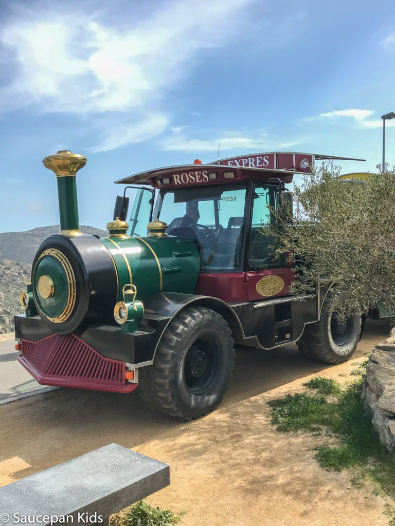 thing-to-Family Friendly things to do in Costa Brava with Saucepan Kids - Catalonia - Spain - A family trip on the Roses Express to see the Cap de Creus nature park - the 'road train'