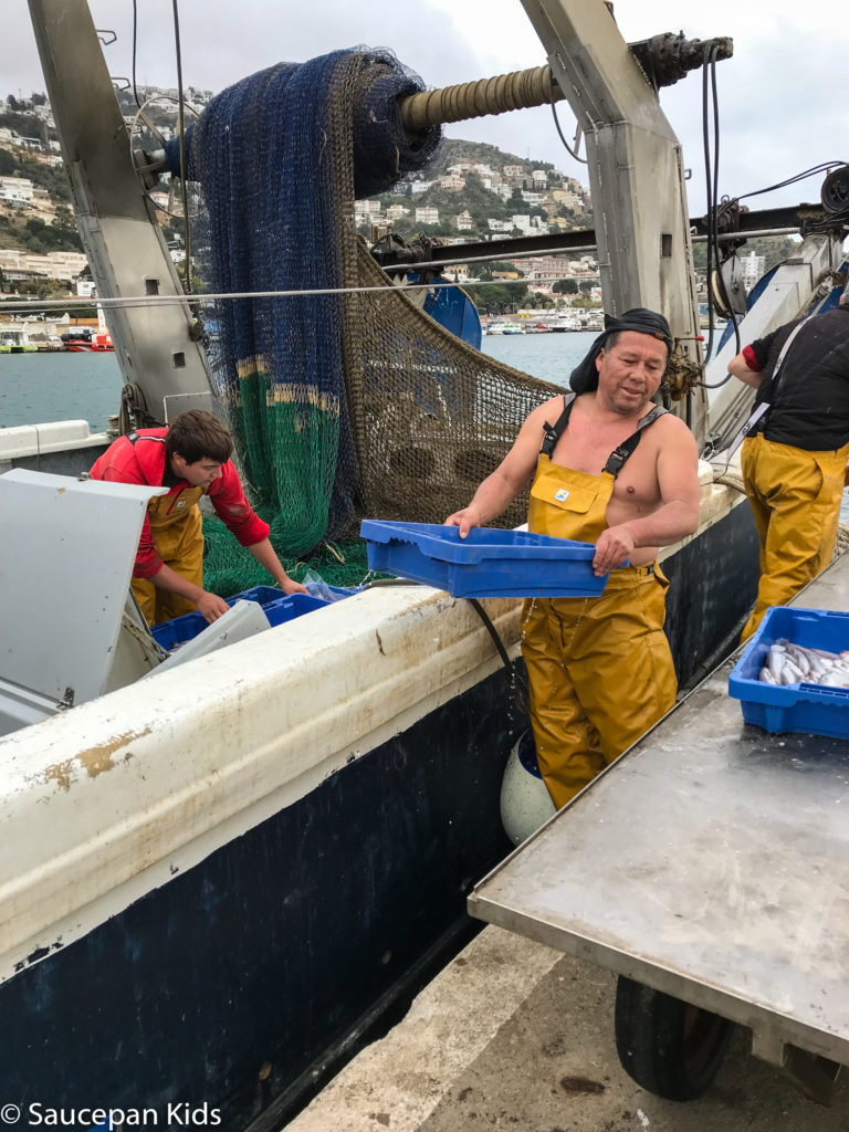 Family Friendly things to do in Costa Brava with Saucepan Kids - Catalonia - Spain - A family visit to the fish auction in Roses - watching them unload the boats