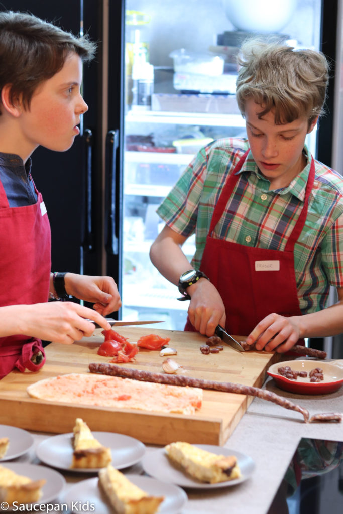 Family Friendly things to do in Costa Brava with Saucepan Kids - Catalonia - Spain - A family cooking class in Girona preparing