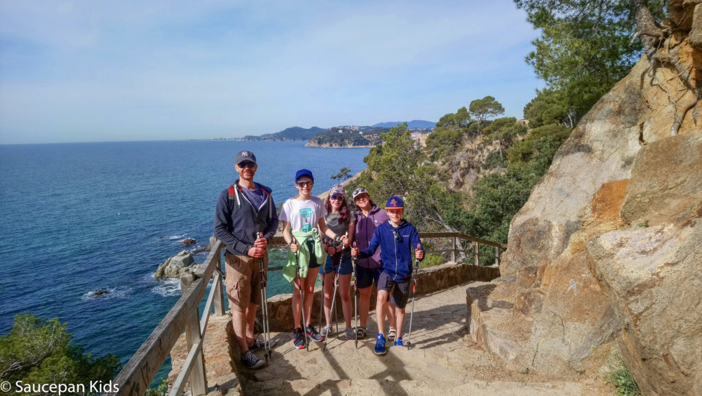 Family Friendly things to do in Costa Brava with Saucepan Kids - Catalonia - Spain - top things to do for kids in Spain - A family fun morning Nordic Walking in Lloret del Mar - one of our favourite activities in Costa Brava