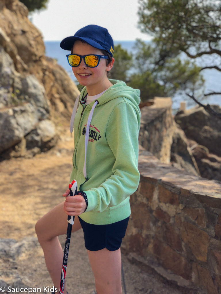 Family Friendly things to do in Costa Brava with Saucepan Kids - Catalonia - Spain - top things to do for kids in Spain - A family fun morning Nordic Walking in Lloret del Mar - loving the poles