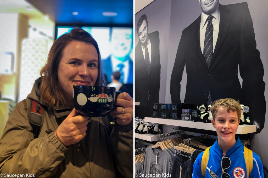 Saucepan Kids do the TV & Manhattan Movie Locations Tour with NBC Studio Tour with Take Walks NYC - Top things to do with kids in New York - Family friendly things to do in New York - NBC Studio shop Friends merchandise