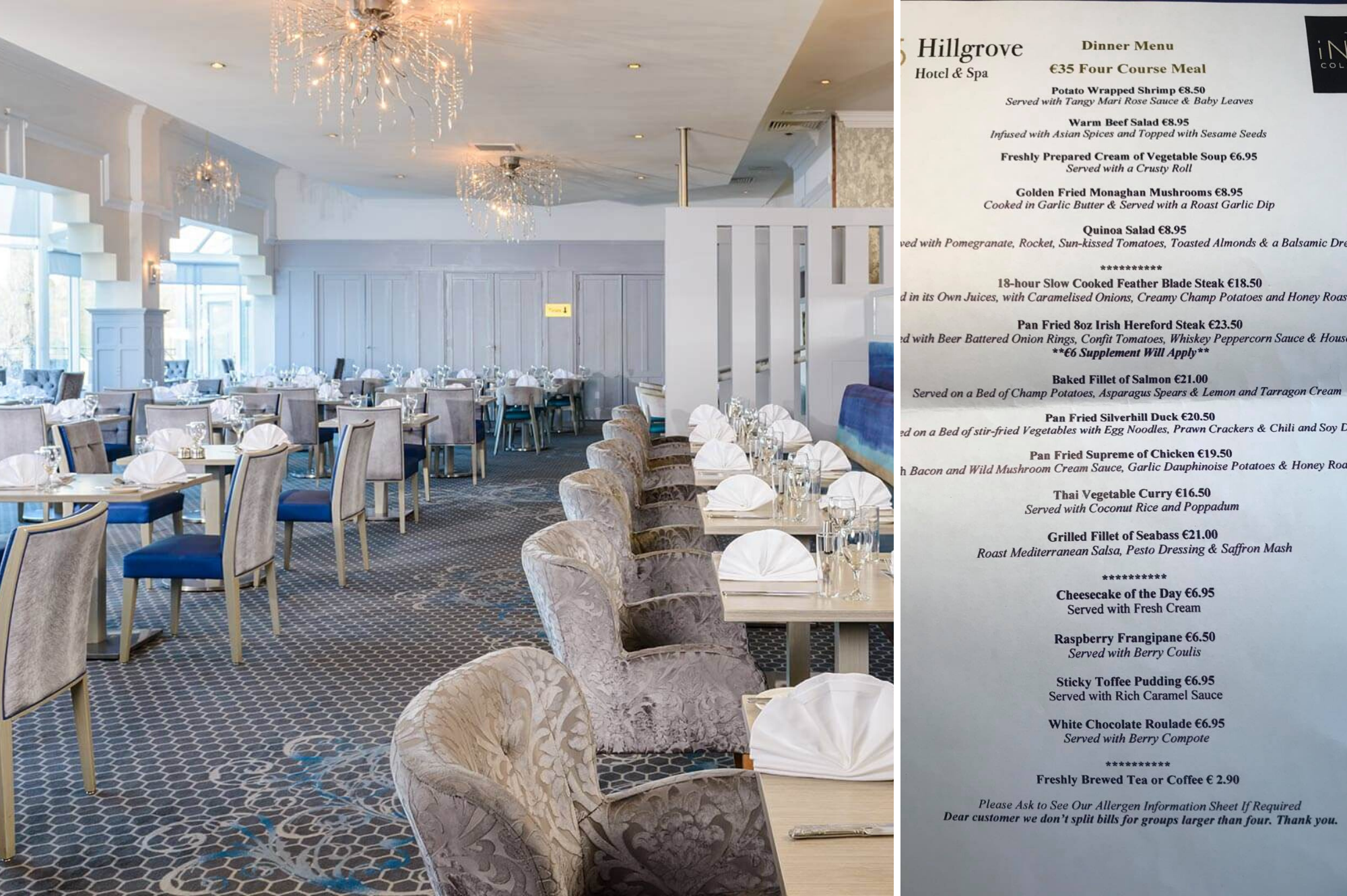 Restaurant - The Hillgrove Hotel and Spa Monaghan - A Review by Saucepan Kids - Irish multi award-winning family travel and food blog