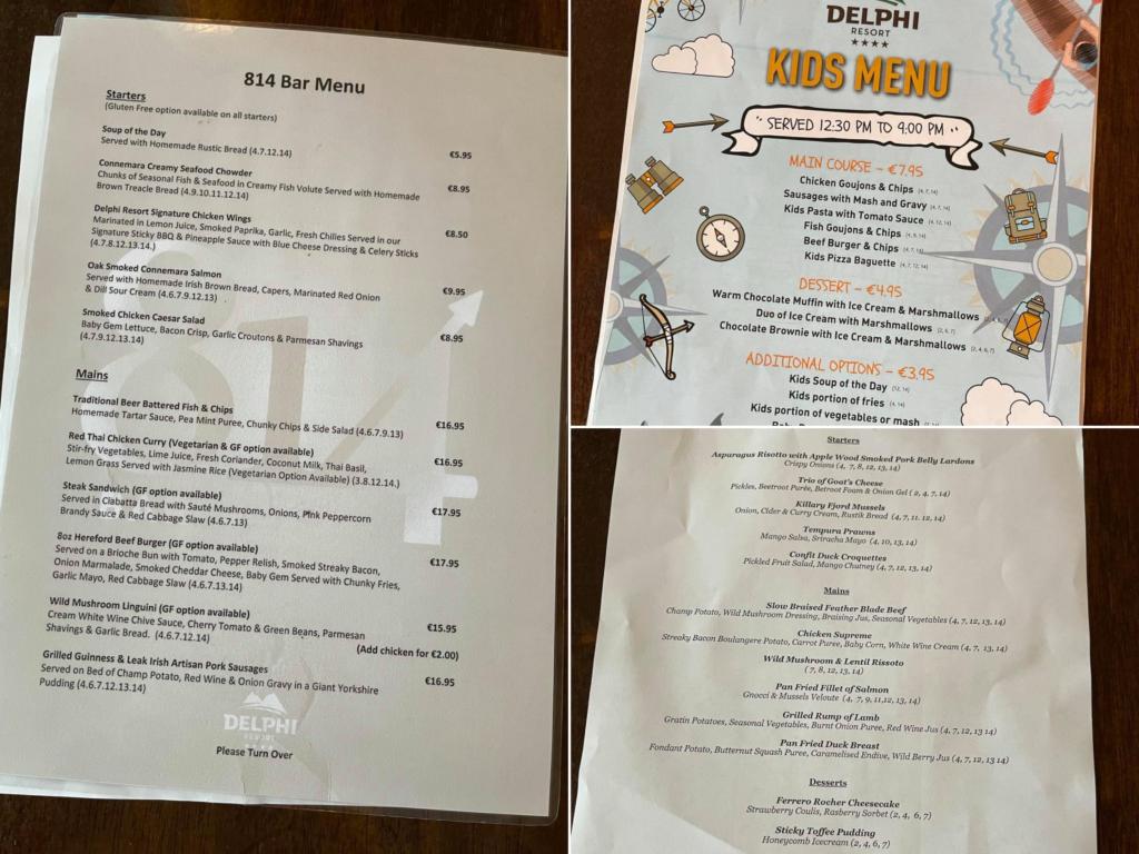 Saucepan Kids review Delphi Adventure Resort Galway - Things to do in Mayo Galway Ireland with teenagers - menu